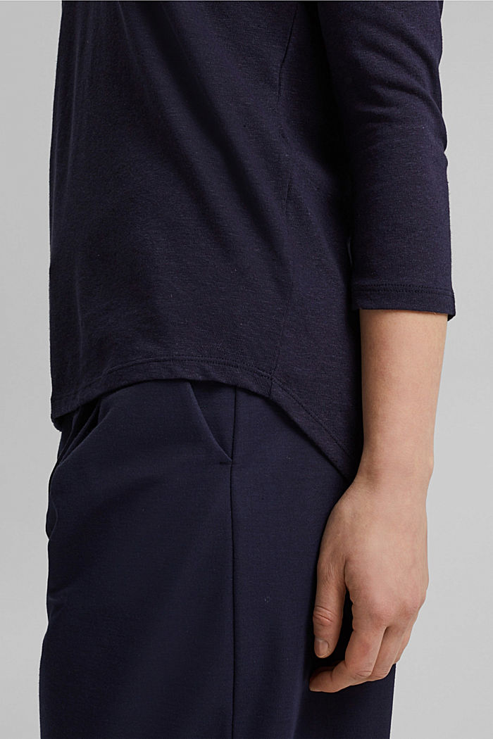 Long sleeve top made of a cotton/linen blend, NAVY, detail image number 5
