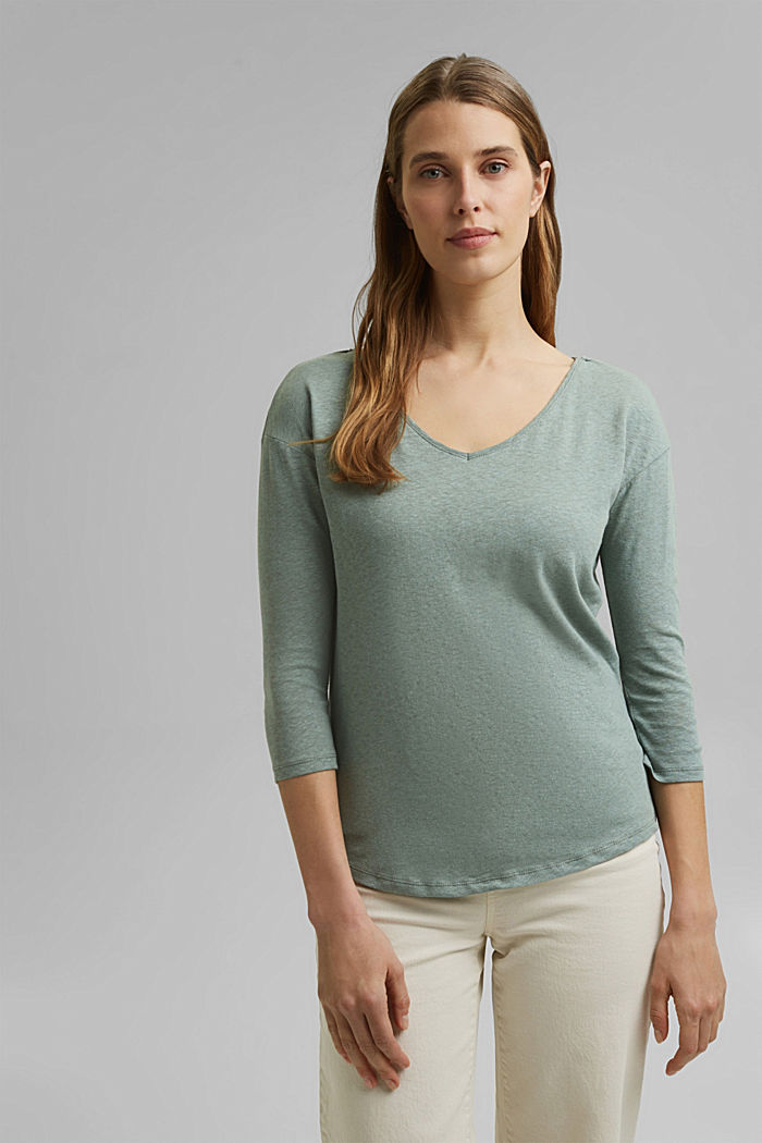 Long sleeve top made of a cotton/linen blend, TURQUOISE, detail image number 0