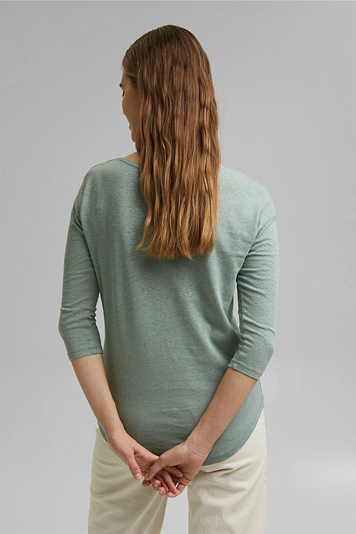 Long sleeve top made of a cotton/linen blend, TURQUOISE, detail image number 3