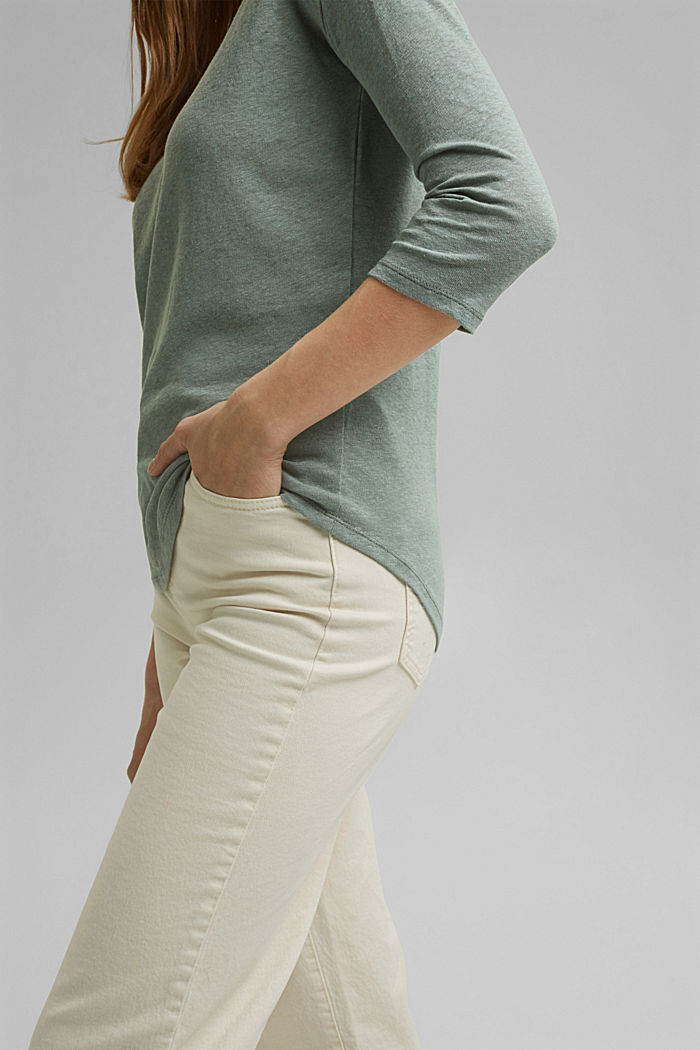Long sleeve top made of a cotton/linen blend, TURQUOISE, detail image number 2
