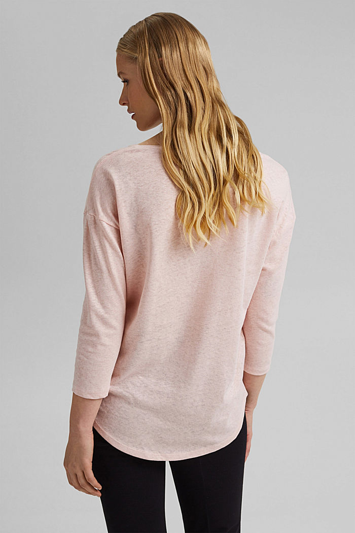 Long sleeve top made of a cotton/linen blend, NUDE, detail image number 3