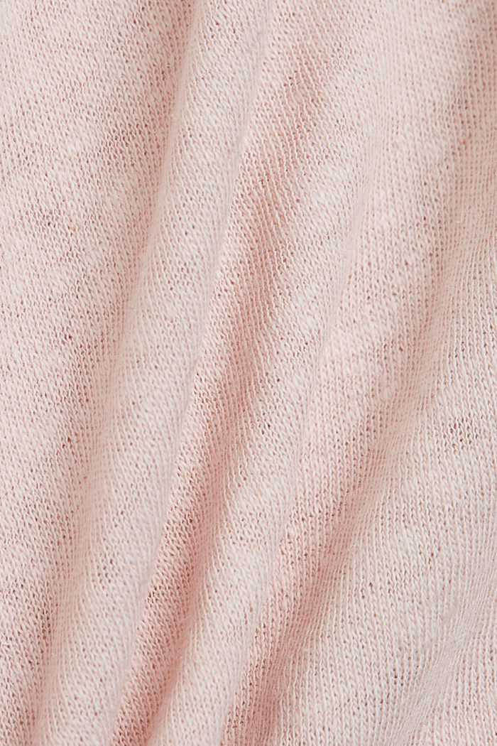 Long sleeve top made of a cotton/linen blend, NUDE, detail image number 4