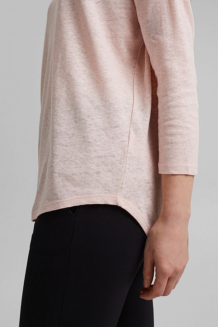 Long sleeve top made of a cotton/linen blend, NUDE, detail image number 5