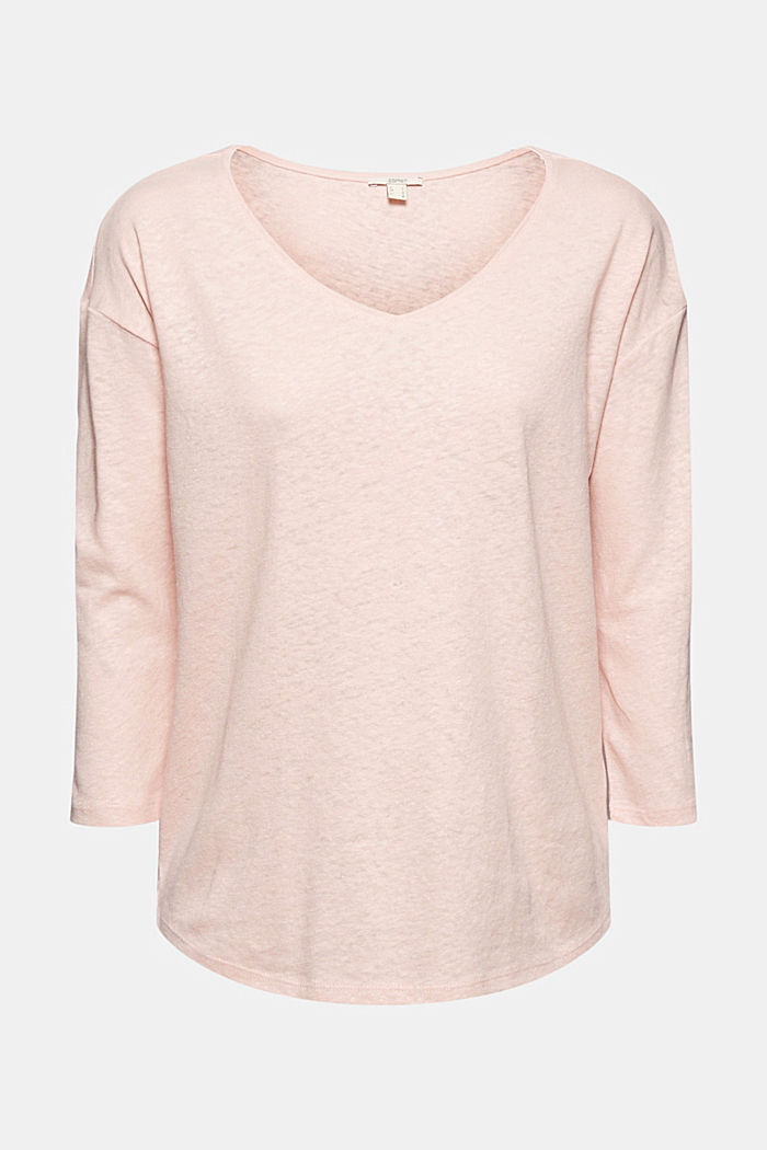 Long sleeve top made of a cotton/linen blend, NUDE, detail image number 7