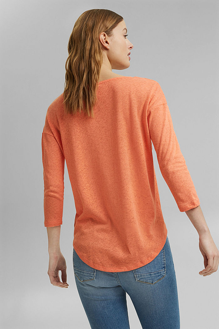 Long sleeve top made of a cotton/linen blend, CORAL ORANGE, detail image number 3