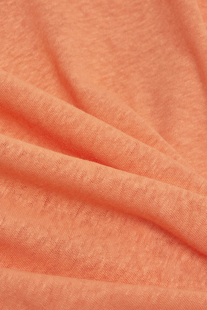 Long sleeve top made of a cotton/linen blend, CORAL ORANGE, detail image number 4