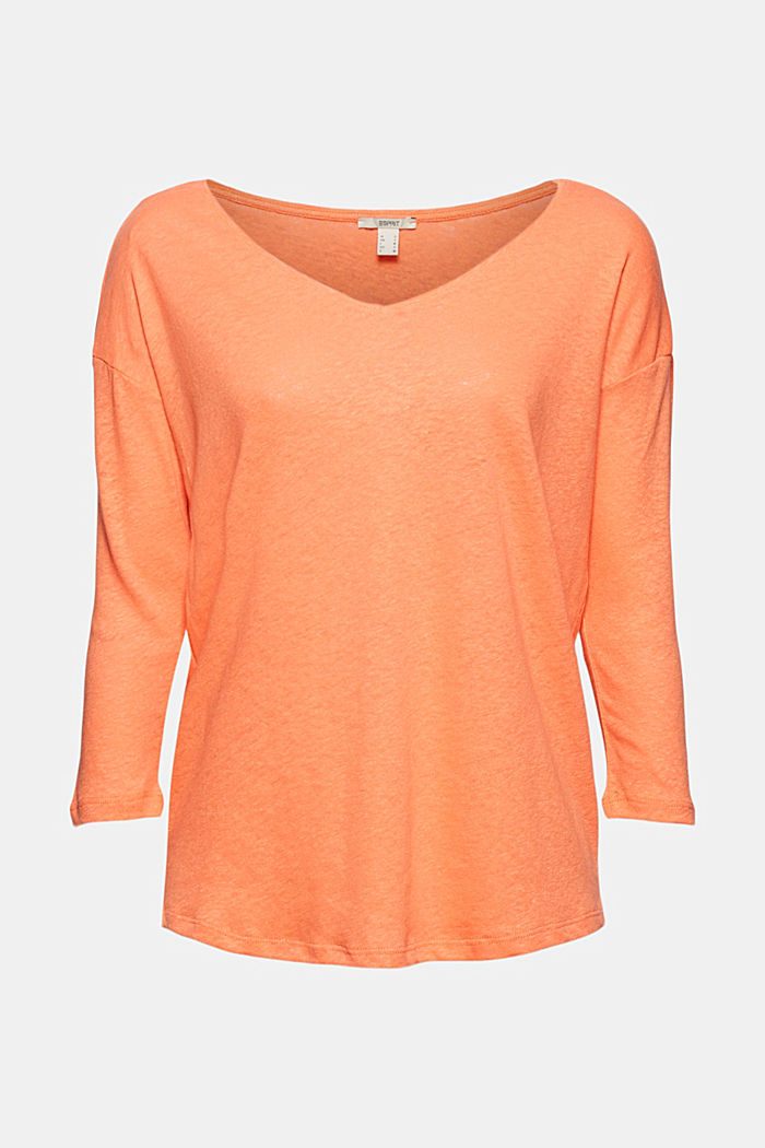 Long sleeve top made of a cotton/linen blend, CORAL ORANGE, detail image number 7