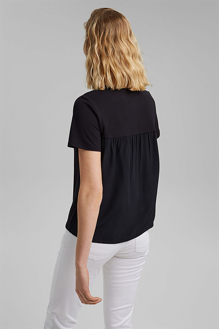 T-shirt met rimpeling, BLACK, detail image number 3