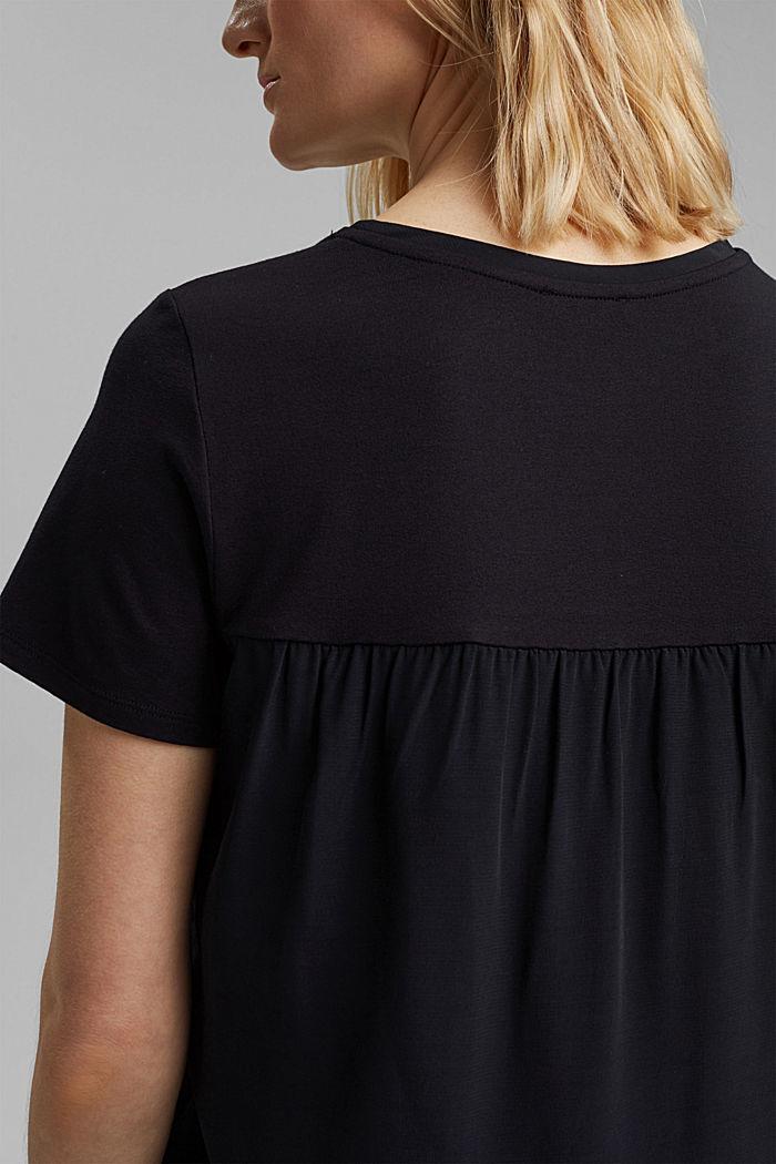T-shirt met rimpeling, BLACK, detail image number 2