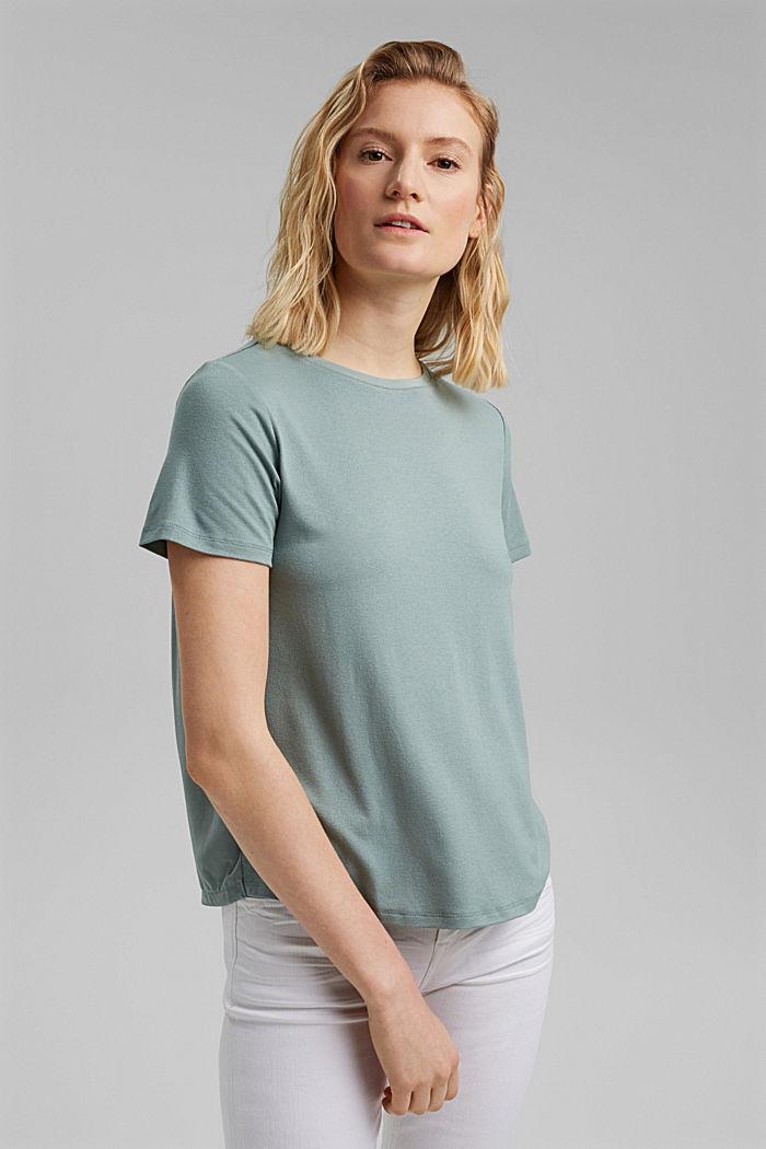 Kombineret T-shirt med rynkning, TURQUOISE, detail image number 0
