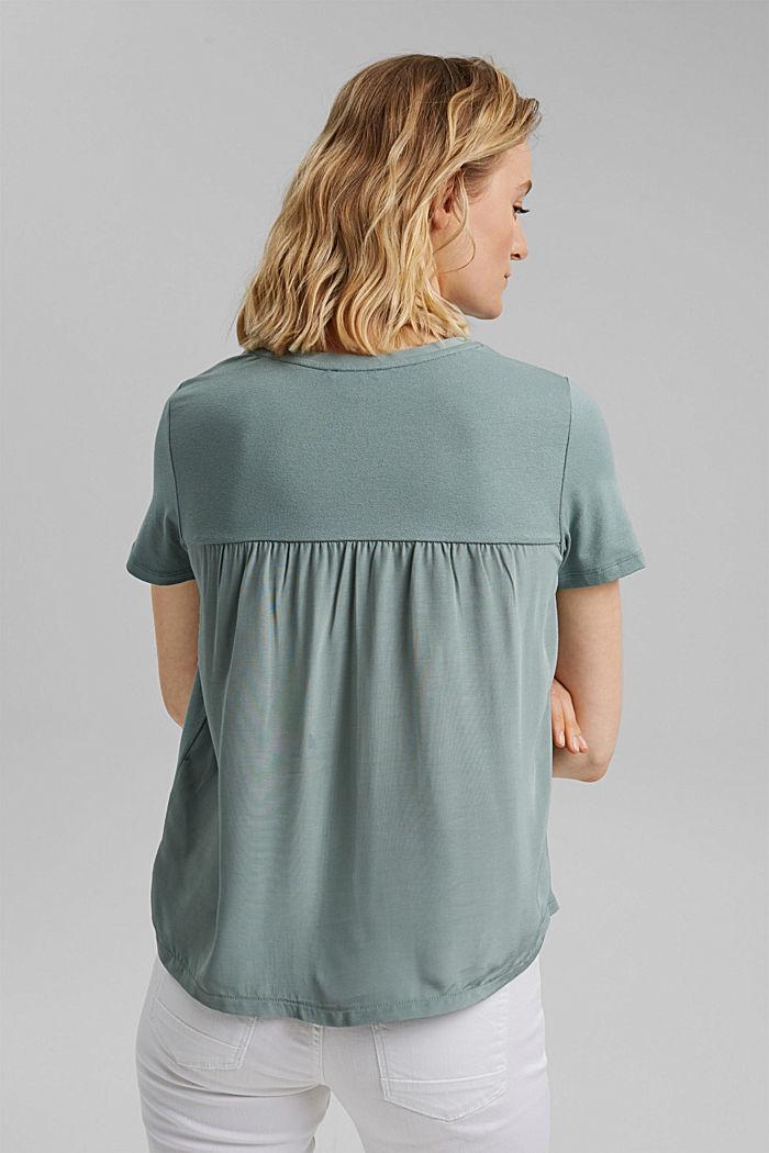 Kombiniertes T-Shirt mit Raffung, TURQUOISE, detail image number 3