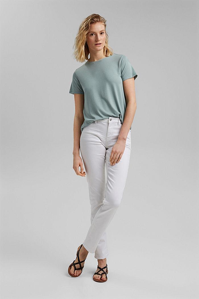 Kombineret T-shirt med rynkning, TURQUOISE, detail image number 1