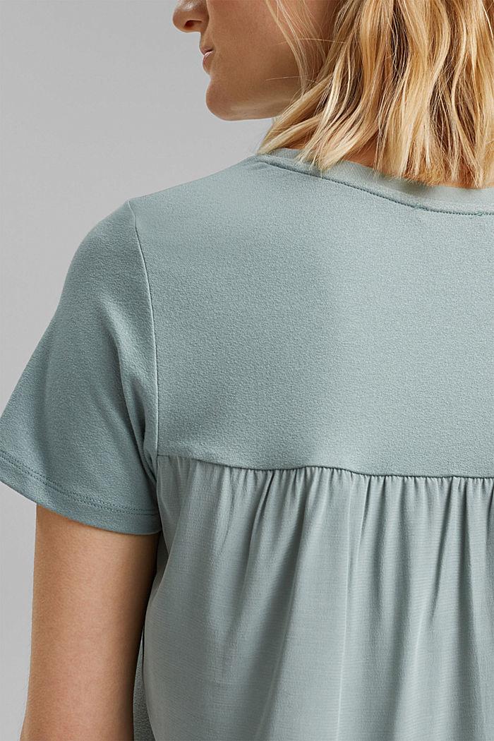 Kombineret T-shirt med rynkning, TURQUOISE, detail image number 2