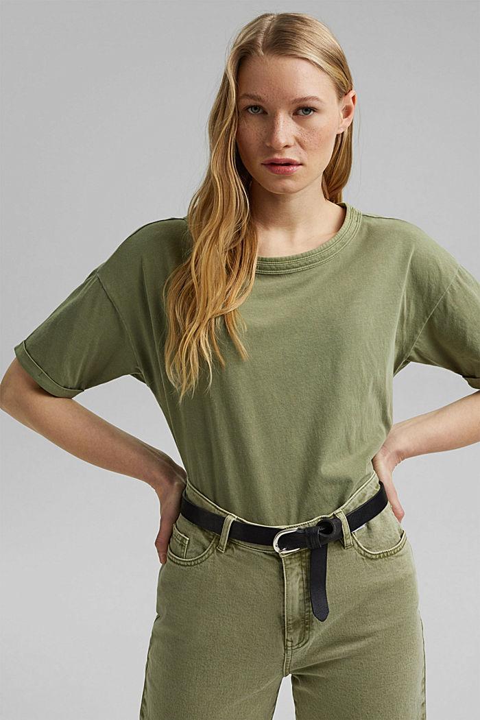 Washed-effect T-shirt, organic cotton, LIGHT KHAKI, detail image number 0