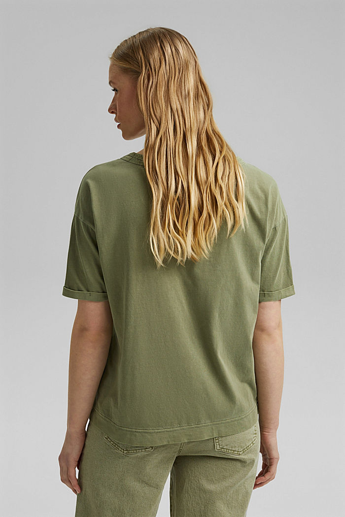 Washed-effect T-shirt, organic cotton, LIGHT KHAKI, detail image number 3