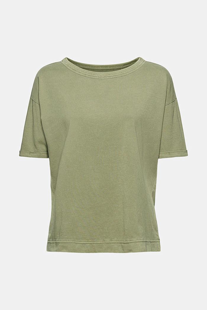 Washed-effect T-shirt, organic cotton, LIGHT KHAKI, detail image number 6