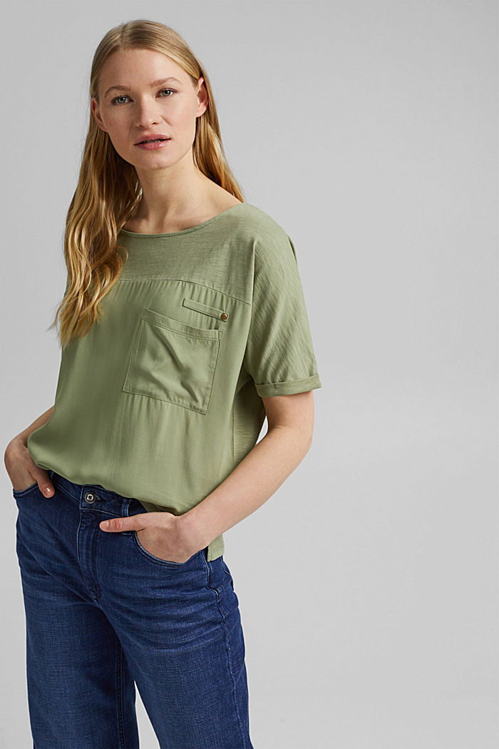 T-Shirt mit Organic Cotton, LIGHT KHAKI, detail image number 0