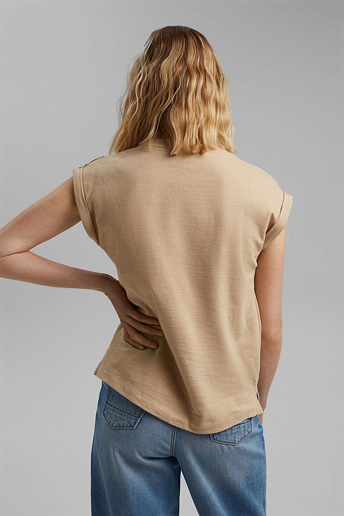 Biologisch katoen/linnen: top met schouderdetails, SAND, detail image number 3
