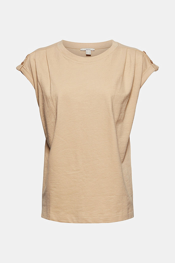 Biologisch katoen/linnen: top met schouderdetails, SAND, detail image number 6