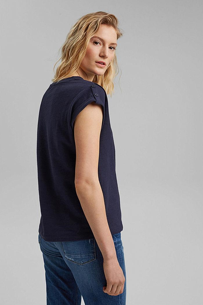 Organic Cotton/Leinen: Top mit Schulterdetails, NAVY, detail image number 3