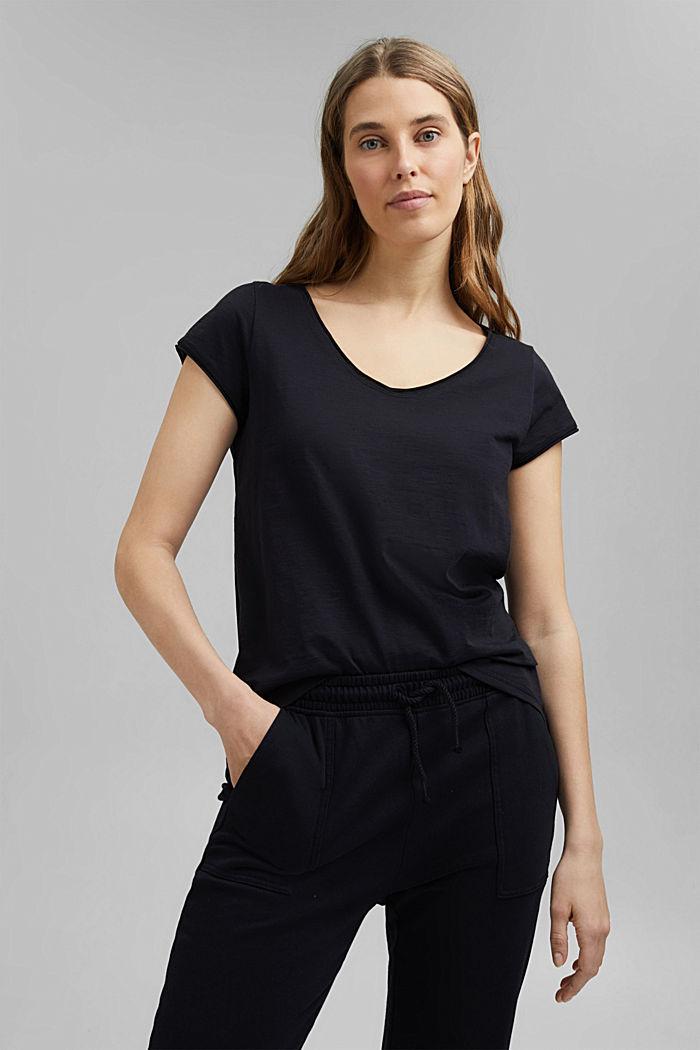 V-Neck-Shirt aus 100% Organic Cotton, BLACK, detail image number 0