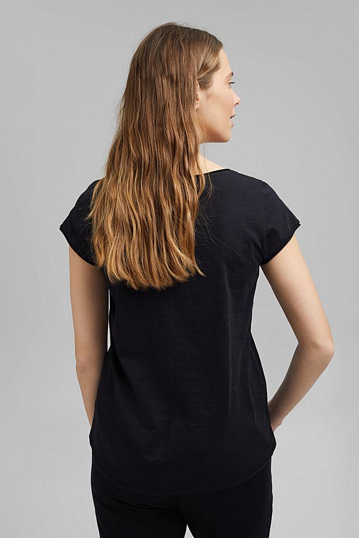V-Neck-Shirt aus 100% Organic Cotton, BLACK, detail image number 3