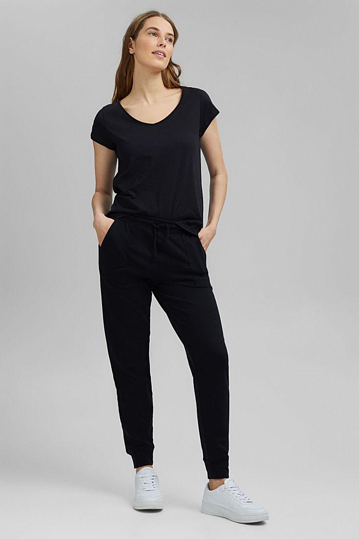 V-Neck-Shirt aus 100% Organic Cotton, BLACK, detail image number 5