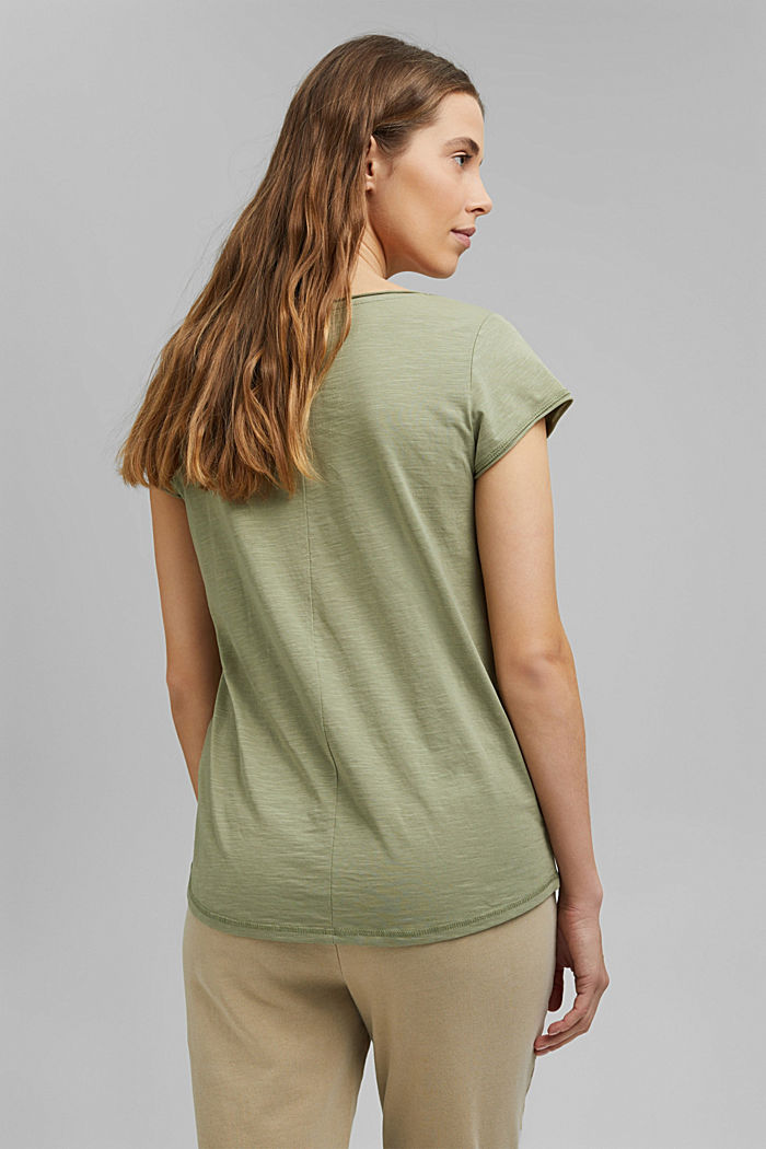 V-neck T-shirt made of 100% organic cotton, LIGHT KHAKI, detail image number 3