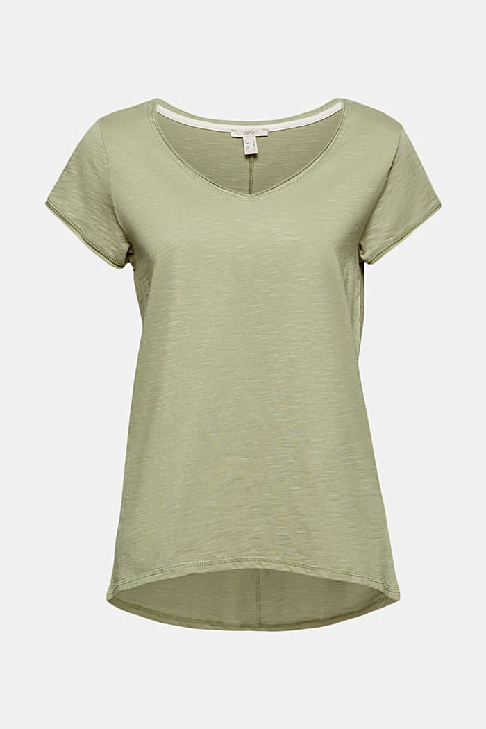 V-neck T-shirt made of 100% organic cotton, LIGHT KHAKI, detail image number 6
