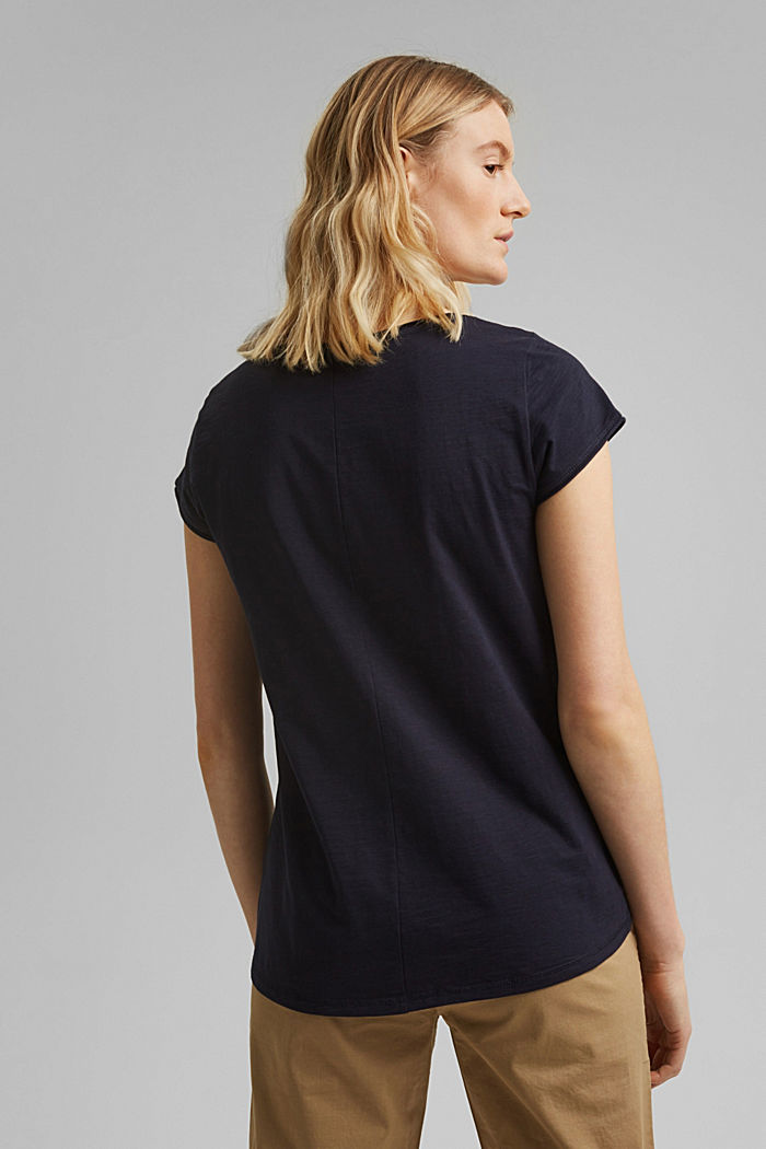 V-neck T-shirt made of 100% organic cotton, NAVY, detail image number 3