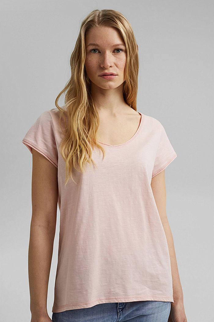 V-neck T-shirt made of 100% organic cotton, NUDE, detail image number 0