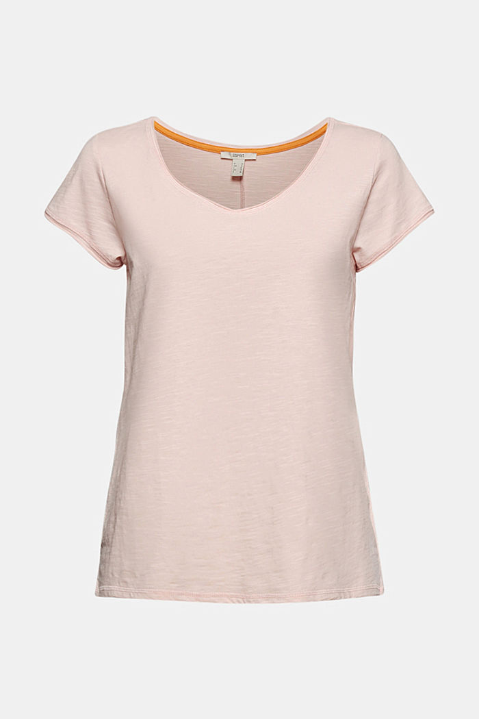 V-Neck-Shirt aus 100% Organic Cotton, NUDE, overview