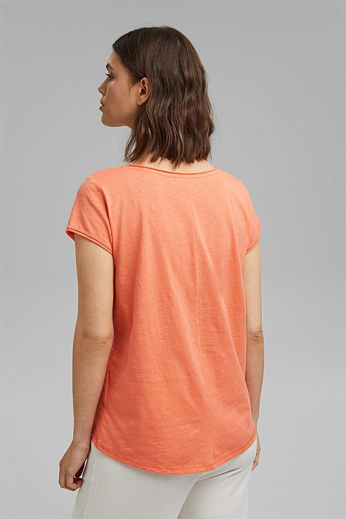 T-Shirt aus 100% Organic Cotton, CORAL ORANGE, detail image number 3