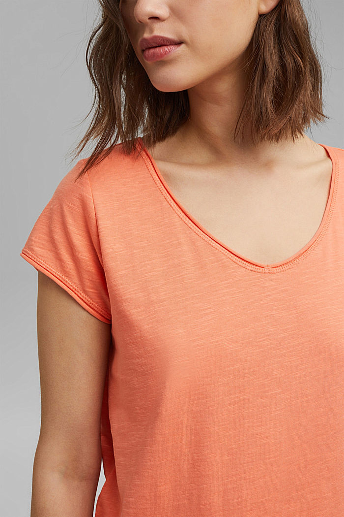 T-Shirt aus 100% Organic Cotton, CORAL ORANGE, detail image number 2