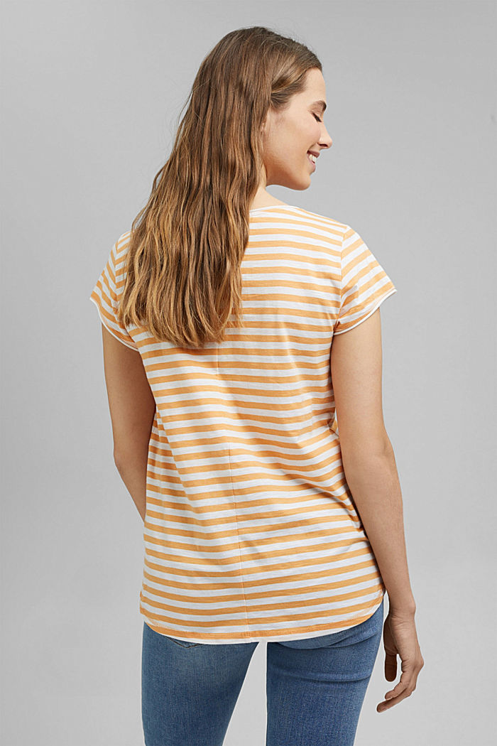 T-Shirt mit Streifen, 100% Organic Cotton, YELLOW, detail image number 3