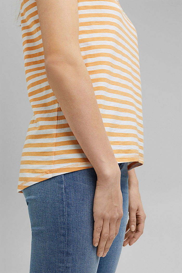 T-Shirt mit Streifen, 100% Organic Cotton, YELLOW, detail image number 5