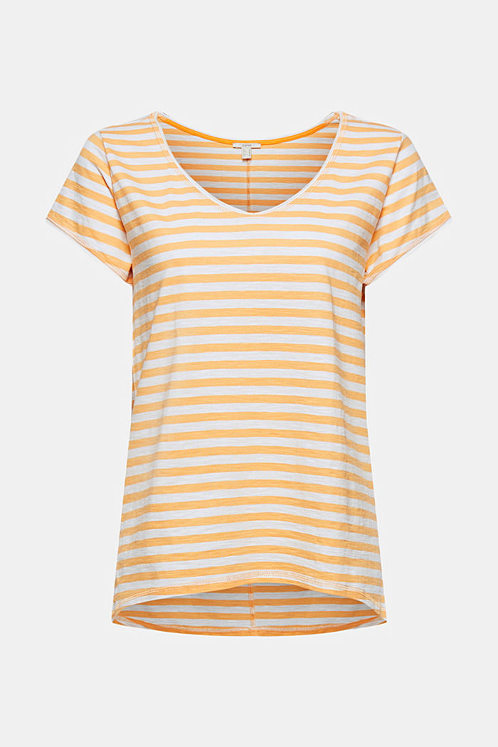 T-Shirt mit Streifen, 100% Organic Cotton, YELLOW, overview