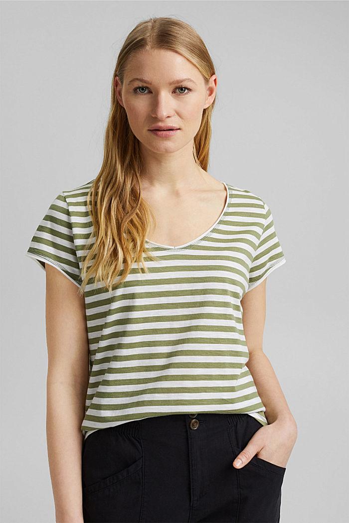T-Shirt mit Streifen, 100% Organic Cotton, LIGHT KHAKI, detail image number 0