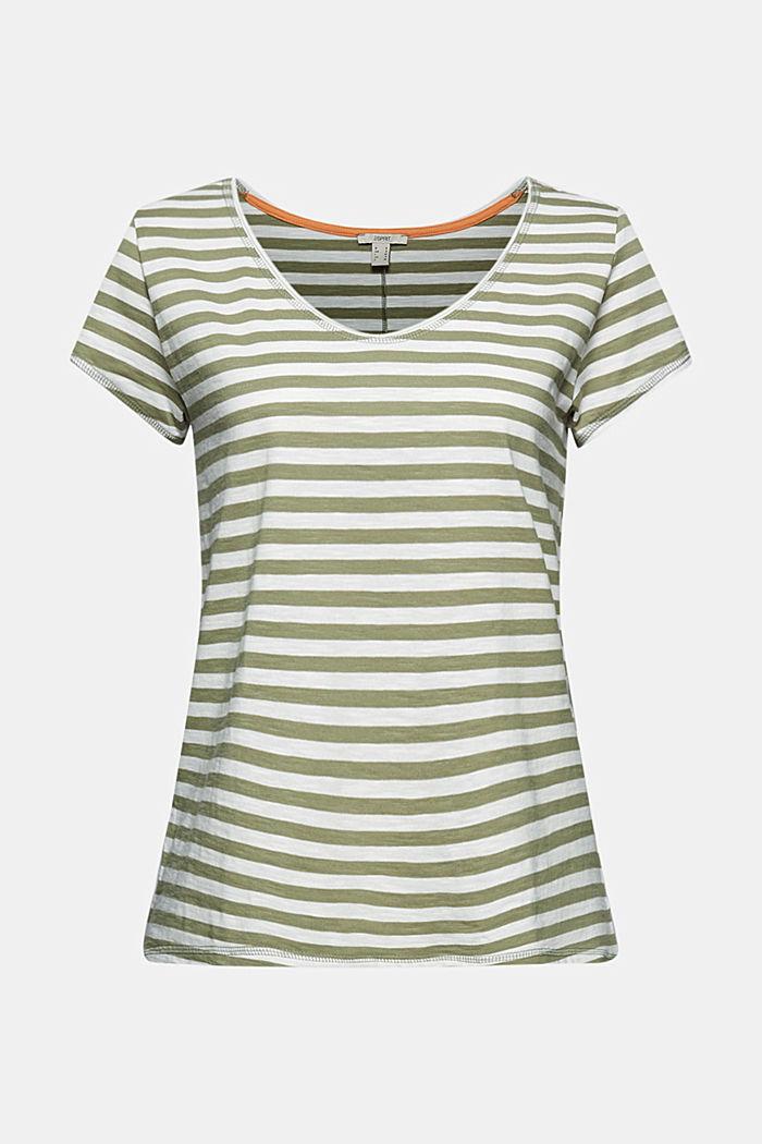 T-Shirt mit Streifen, 100% Organic Cotton, LIGHT KHAKI, detail image number 6
