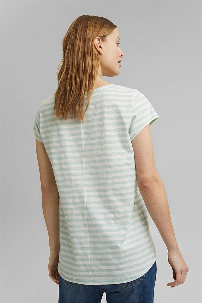 T-Shirt mit Streifen, 100% Organic Cotton, LIGHT AQUA GREEN, detail image number 3