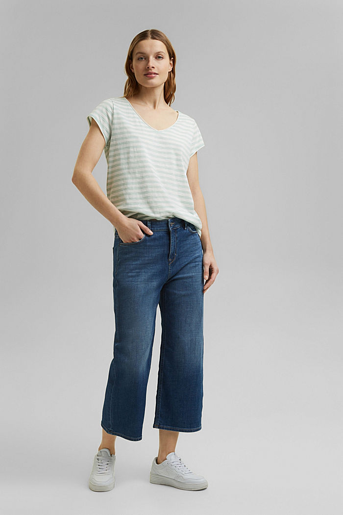 T-Shirt mit Streifen, 100% Organic Cotton, LIGHT AQUA GREEN, detail image number 1