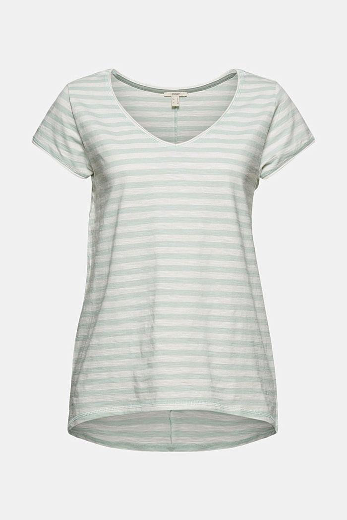 T-Shirt mit Streifen, 100% Organic Cotton, LIGHT AQUA GREEN, detail image number 6