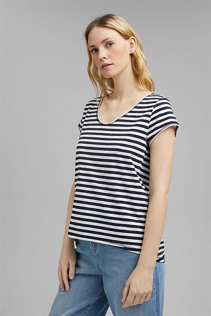 Striped T-shirt, 100% organic cotton, NAVY, detail image number 0