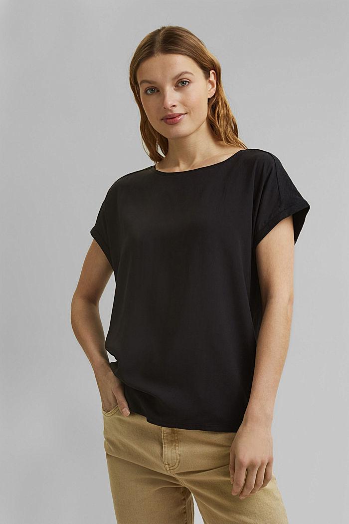 T-shirt z bawełną organiczną/TENCELEM™, BLACK, detail image number 0