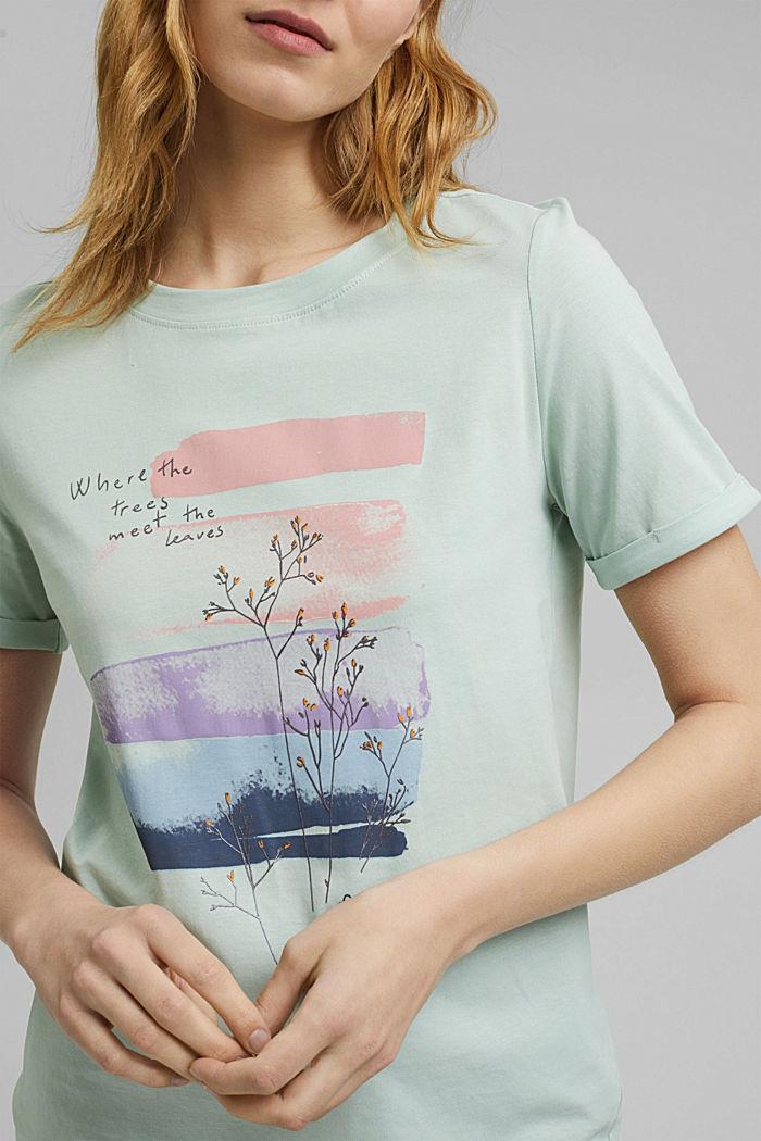 T-shirt en coton biologique à illustration, LIGHT AQUA GREEN, detail image number 2