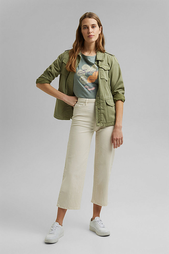 Printed T-shirt, 100% organic cotton, TURQUOISE, detail image number 1