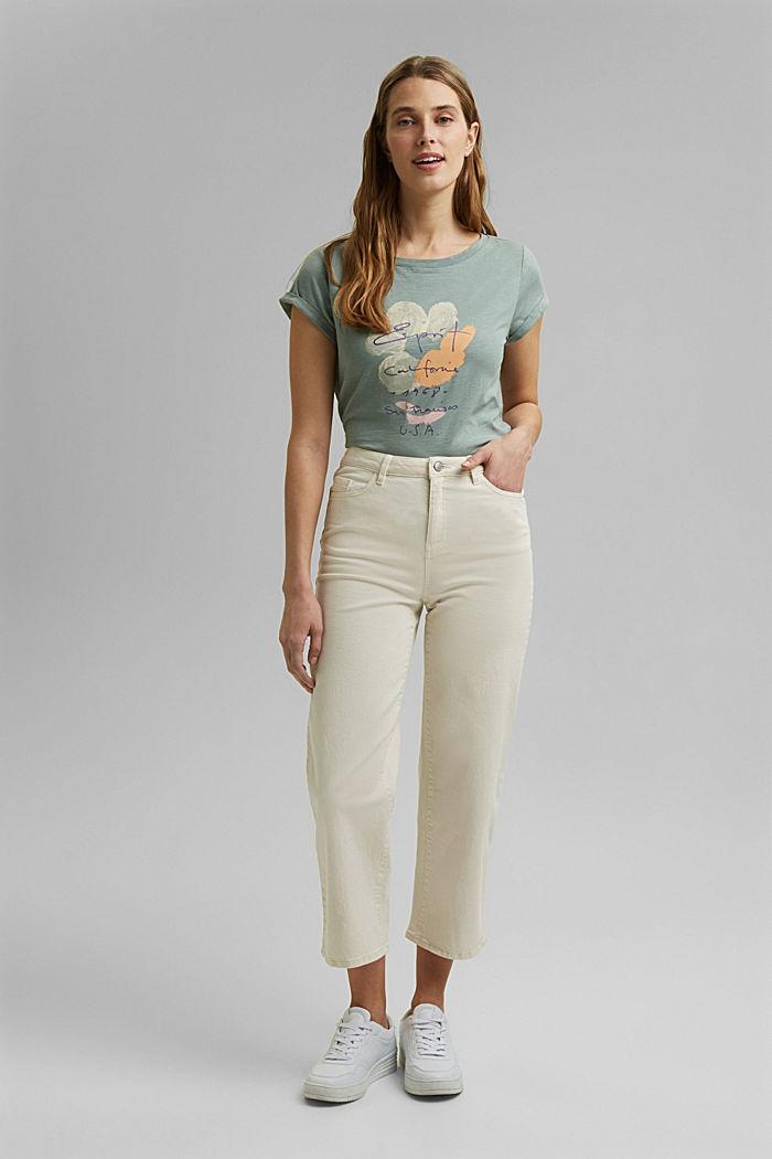 Printed T-shirt, 100% organic cotton, TURQUOISE, detail image number 6