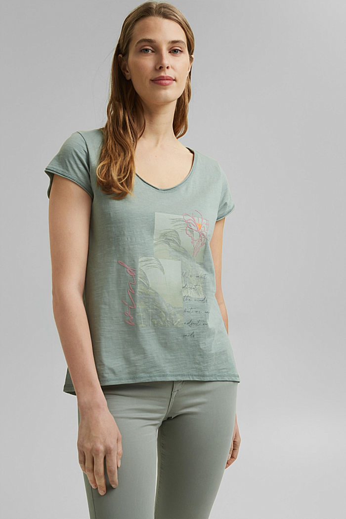 Printed T-shirt, 100% organic cotton, TURQUOISE, overview