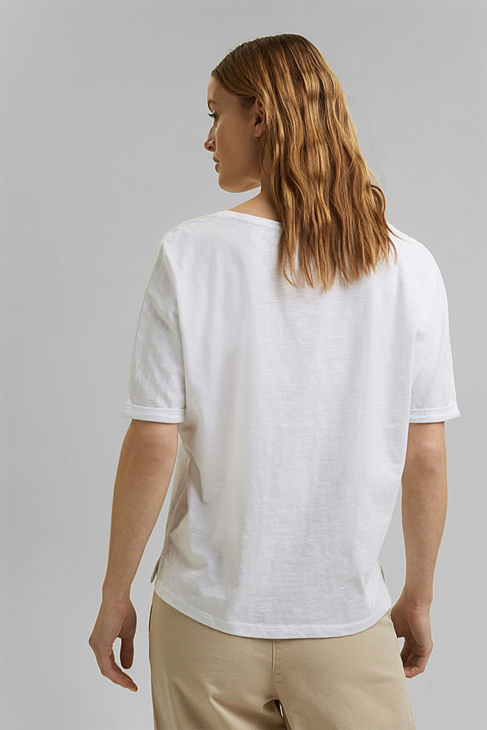 T-Shirt mit Line-Art, Organic Cotton, WHITE, detail image number 3