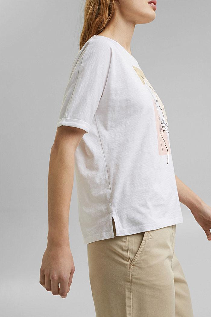 T-Shirt mit Line-Art, Organic Cotton, WHITE, detail image number 2
